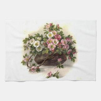ヴィンテージの野生のバラのバスケットの台所タオル キッチンタオル