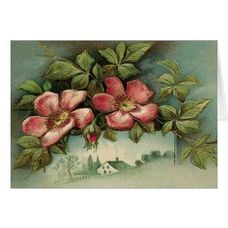 ヴィンテージの野生のバラ カード