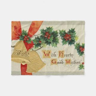 ヴィンテージの金クリスマス鐘およびヒイラギ フリースブランケット