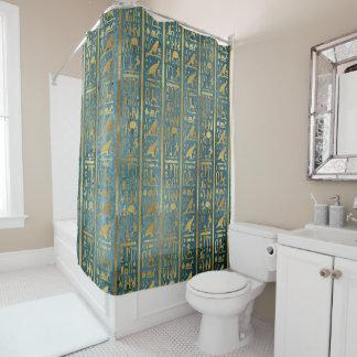 ヴィンテージの金ゴールドのエジプト人の紙のプリント シャワーカーテン