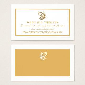 ヴィンテージの金ゴールドのグリッターの蝶結婚式のウェブサイト 名刺