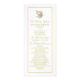 ヴィンテージの金ゴールドのグリッターの蝶結婚式プログラム ラックカード