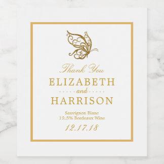ヴィンテージの金ゴールドのグリッターの蝶結婚式 ワインラベル