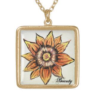 ヴィンテージの金ゴールドのトラの花のペンダント ゴールドプレートネックレス