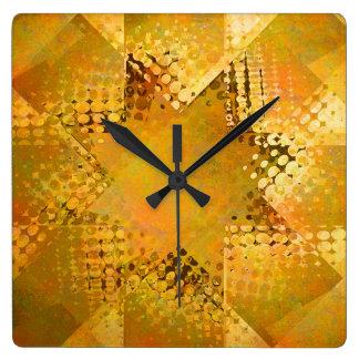 ヴィンテージの金ゴールドのハーフトーンの星の時計 スクエア壁時計