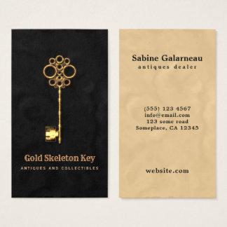 ヴィンテージの金ゴールドの旧式な合い鍵の骨董屋 名刺