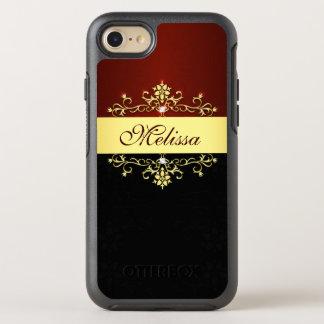 ヴィンテージの金ゴールドの赤く黒くエレガントな花のビクトリア時代の人 オッターボックスシンメトリーiPhone 8/7 ケース