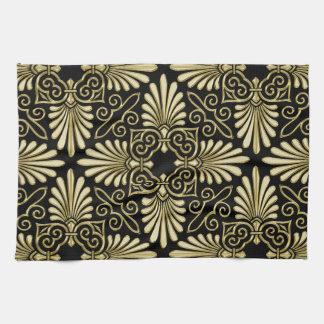 ヴィンテージの金ゴールドの黒のダマスク織のアールデコファン キッチンタオル
