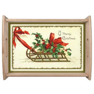 ヴィンテージの金メリークリスマスのそり トレー
