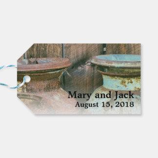 ヴィンテージの金属のミルク水差しの素朴な農場の結婚式 ギフトタグ