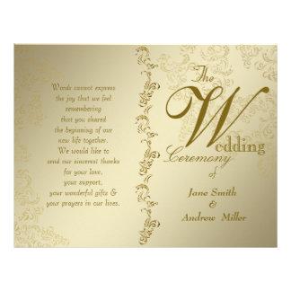 ヴィンテージの金結婚式プログラム チラシ