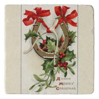 ヴィンテージの金蹄鉄のウィッシュポーンのクリスマス トリベット