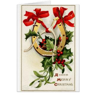 ヴィンテージの金蹄鉄のウィッシュポーンのメリークリスマス カード