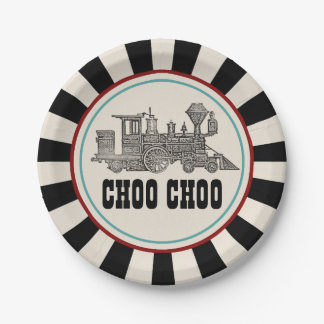ヴィンテージの鉄道乗車券の紙皿 ペーパープレート