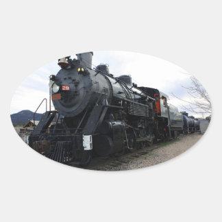 ヴィンテージの鉄道蒸気の列車 楕円形シール