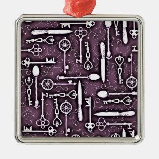 ヴィンテージの鍵のナイフの紫色のSteampunkパターン メタルオーナメント