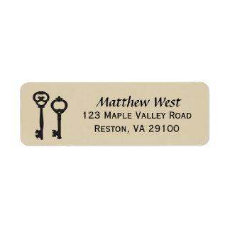 ヴィンテージの鍵の新しい家の宛名ラベル 返信用宛名ラベル