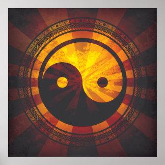 ヴィンテージの陰陽の記号のプリント ポスター
