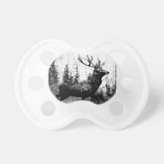 ヴィンテージの雄鹿のシカの白黒動物 おしゃぶり