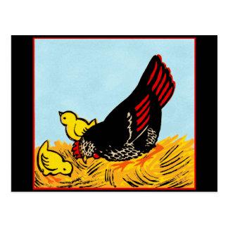 ヴィンテージの雌鶏およびひよこのプリント ポストカード