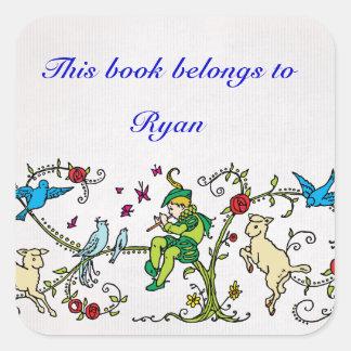 ヴィンテージの雑色のパイパーの名前入りな本のラベル スクエアシール