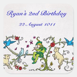 ヴィンテージの雑色のパイパーの名前入りな誕生日 スクエアシール