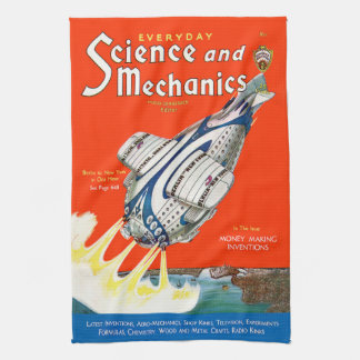 ヴィンテージの雑誌(未来派の飛行機)の台所タオル キッチンタオル