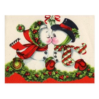ヴィンテージの雪だるまのクリスマスの郵便はがき ポストカード