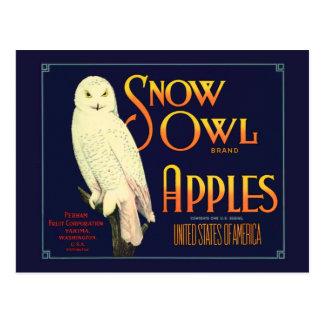 ヴィンテージの雪のフクロウのりんごのラベル ポストカード