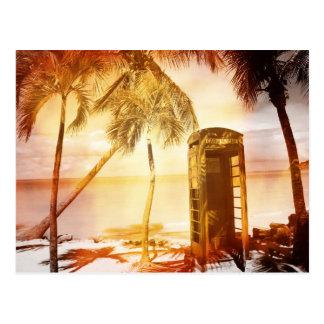 ヴィンテージの電話ボックスの黄色の白熱 ポストカード