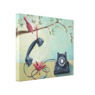 ヴィンテージの電話及び鳥のお洒落なキャンバスのプリント キャンバスプリント