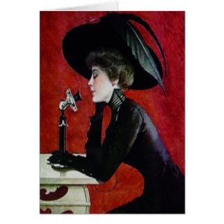 ヴィンテージの電話女性の黒の服帽子の女性 カード