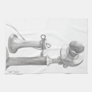 ヴィンテージの電話手描きのスケッチ キッチンタオル