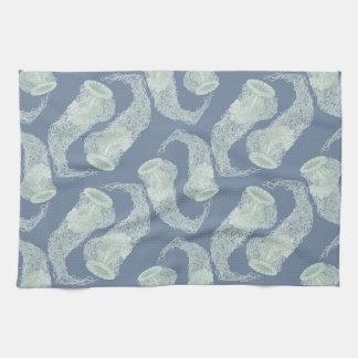 ヴィンテージの青いくらげの台所タオル キッチンタオル