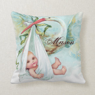 ヴィンテージの青いこうのとりの男の赤ちゃんの子供部屋の枕 クッション