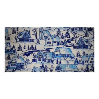 ヴィンテージの青いクリスマスの休日の村 カード