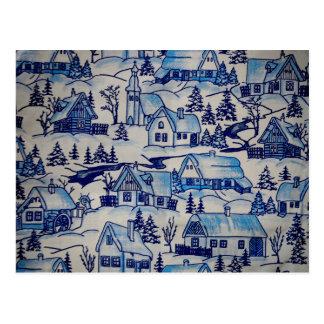 ヴィンテージの青いクリスマスの休日の村 ポストカード