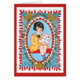 ヴィンテージの青いバレンタインのWirhの小さな女の子 カード