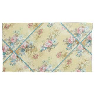 ヴィンテージの青いピンクの白いバラのクリームの黄色の寝具 枕カバー