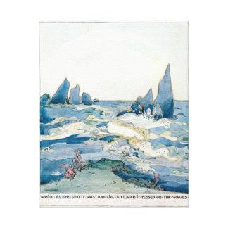 ヴィンテージの青い人魚の海のプリント キャンバスプリント