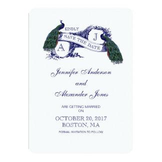 ヴィンテージの青い孔雀の保存日付カード カード