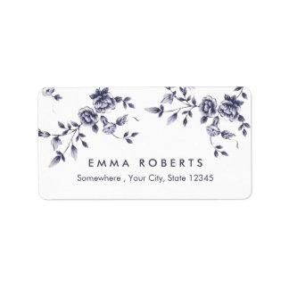 ヴィンテージの青い花の磁器の美容院 宛名ラベル
