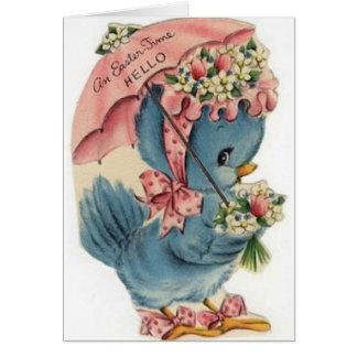 ヴィンテージの青い鳥のイースターカード カード