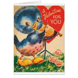 ヴィンテージの青い鳥のバイオリンのバレンタインデーカード カード