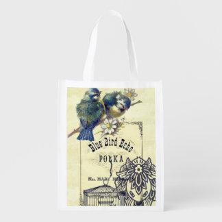 ヴィンテージの青い鳥の鳥かごのコラージュ エコバッグ