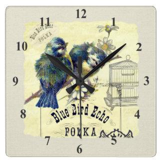 ヴィンテージの青い鳥の鳥かごのコラージュ スクエア壁時計