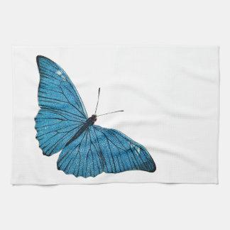 ヴィンテージの青いMorphoの蝶によってカスタマイズテンプレート キッチンタオル
