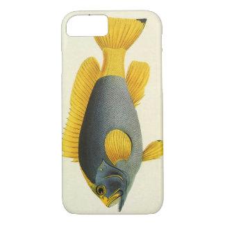 ヴィンテージの青および黄色のハタの魚、海洋生物 iPhone 8/7ケース