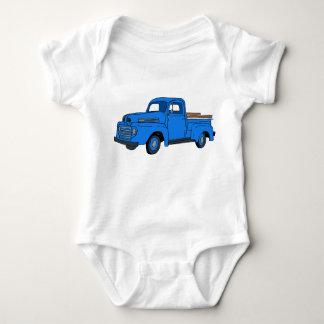 ヴィンテージの青のトラック ベビーボディスーツ