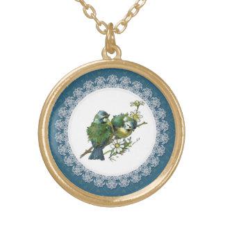 ヴィンテージの青の鳥 ゴールドプレートネックレス